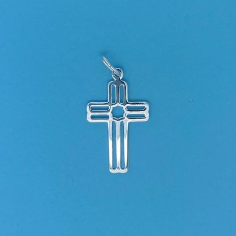 Genuine 925 Sterling Silver Cut Out Cross Pendant With Linear Pattern